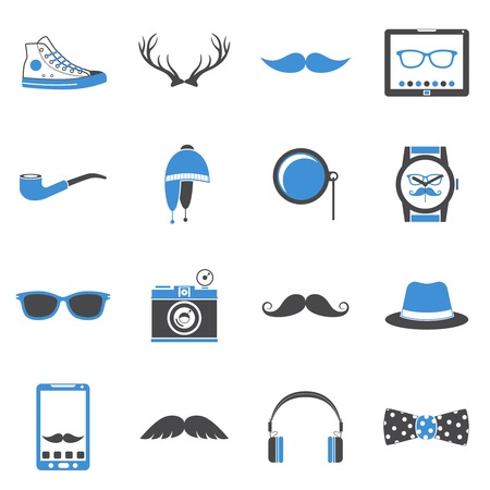 Hipster geek urban fashion elements and accessories icons set illustration Vector