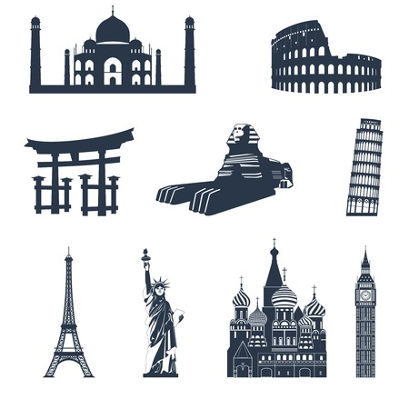 tower of pisa: World famous landmarks black icons set of sphinx pisa tower colosseum isolated illustration