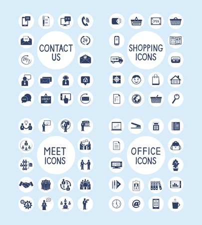 Business people meeting contact us customer care internet shopping marketing and office stationery supplies icons set isolated vector illustration