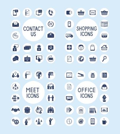 orden de compra: Hombres de negocios reunidos en contacto con nosotros de atención al cliente de marketing las compras por Internet y papelería de oficina suministros iconos conjunto aislado ilustración vectorial Vectores