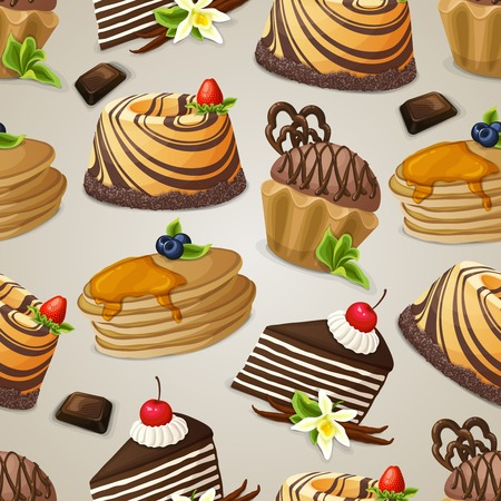 vanilla pudding: Decorative sweets dessert food seamless pattern with chocolate muffin pudding pancakes vector illustration