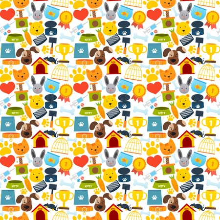 dog collar: Pets seamless pattern with animal accessories and care elements vector illustration