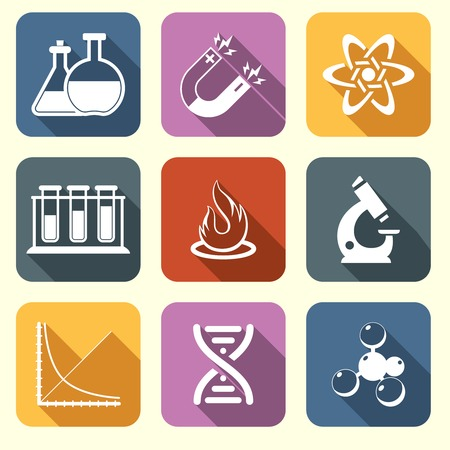 Physics science laboratory equipment scientific flat education icons set isolated vector illustration Vector