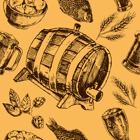 barley hop: Traditional vintage tap beer bar menu seamless pattern with snacks hop barley and oak barrel vector illustration Illustration