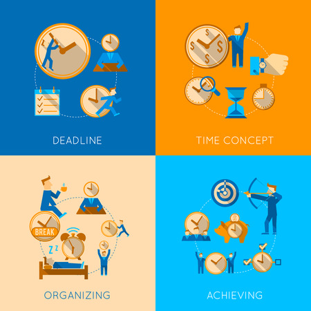 deadline: Get organized meeting deadline time management efficiency achieving concept flat icons composition isolated vector illustration