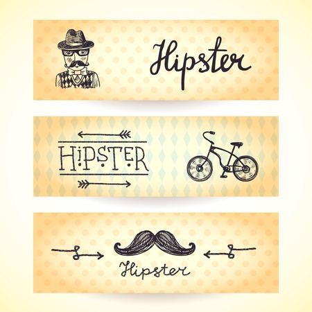 Hipster horizontal banners set with moustache and bicycle isolated vector illustration Vector