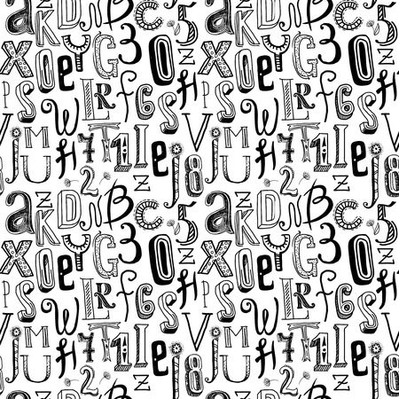 Sketch hand drawn doodle black alphabet letters and numbers seamless pattern vector illustration Vector