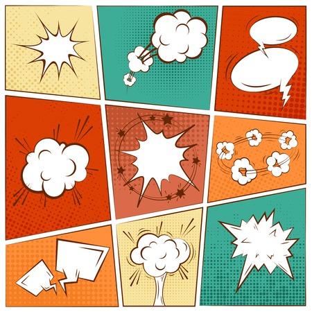 art icons: Comic blank text speech bubbles in pop art style set vector illustration Illustration