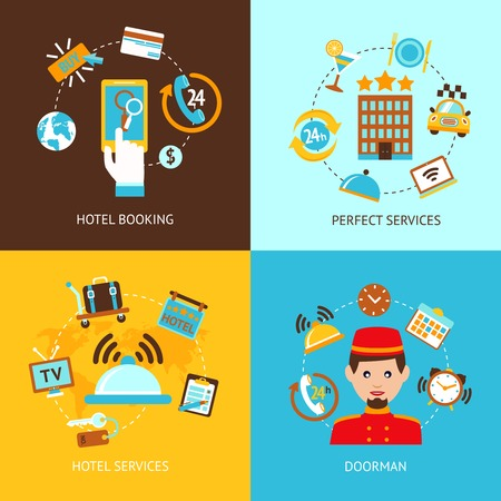 hotel room: Hotel booking perfect services doorman flat set isolated vector illustration