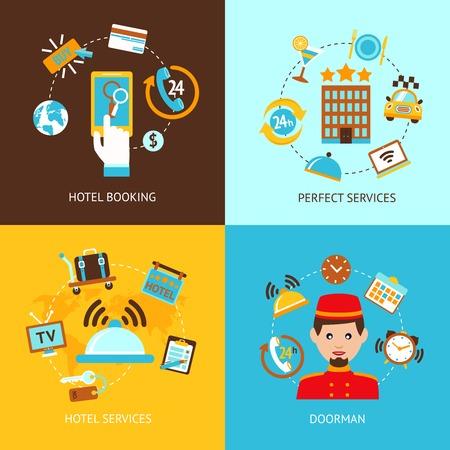 Hotelbuchungs perfekte Dienstleistungen Türsteher Flach Satz isoliert Vektor-Illustration