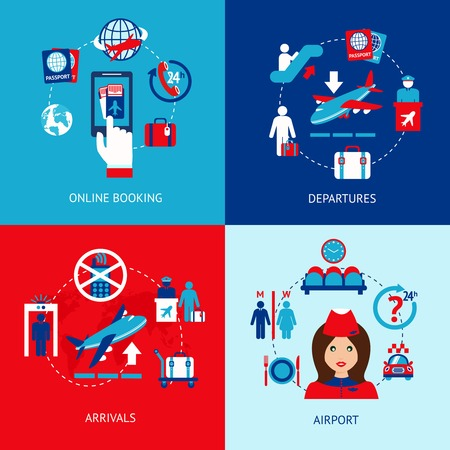 Airport online booking departures arrivals flat icons set isolated vector illustration Vector