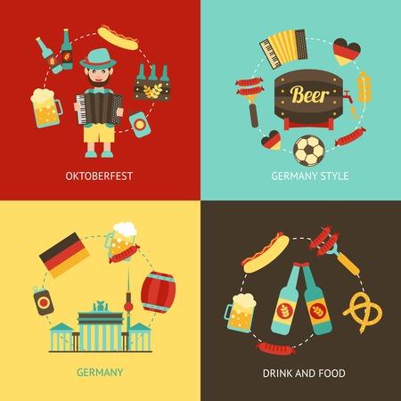 oktoberfest food: Germany travel Oktoberfest drink and food flat set isolated vector illustration