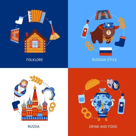 acordeón: Rusia folclore viajes bebida y comida plana conjunto aislado ilustración vectorial