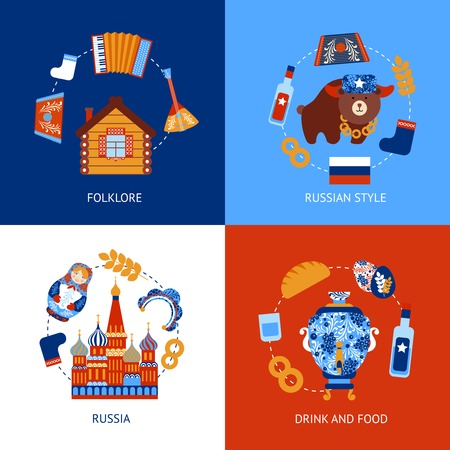 Russia travel folklore drink and food flat set isolated vector illustration