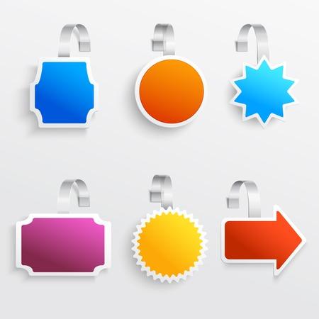 wobbler: Color advertising announcement hanging retail wobbler set isolated vector illustration Illustration