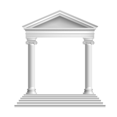 greek column: Realistic antique marble temple front with ionic columns isolated on white background vector illustration