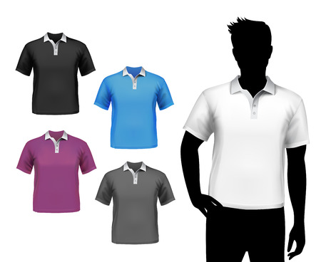 Colored polo fashion t-shirts male set with man body silhouette isolated vector illustration. Vector