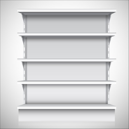 display stand: White empty supermarket retail store shelves isolated on white background vector illustration