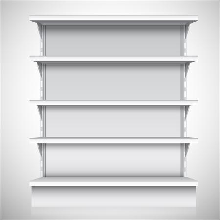 Witte lege supermarkt winkel schappen op een witte achtergrond vector illustratie Stock Illustratie
