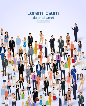 large crowd of people: Group of people adult professionals poster vector illustration.