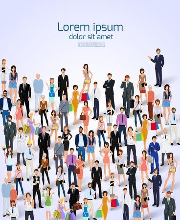 personas: Grupo de personas profesionales adultos ilustraci�n del cartel del vector.