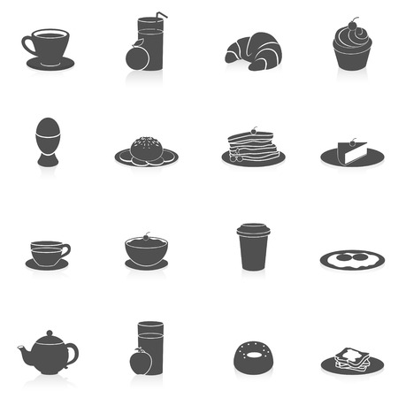 Breakfast tasty food and drink icon black set with coffee pancakes and fried bread isolated vector illustration Vector