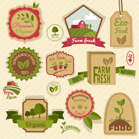 productos naturales: Vendimia etiquetas Granja productos frescos y naturales de la agricultura org�nica de alimentos fijadas aisladas ilustraci�n vectorial Vectores