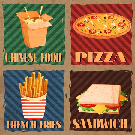 Fast junk food cards set of chinese food french fries pizza sandwich isolated vector illustration Vector