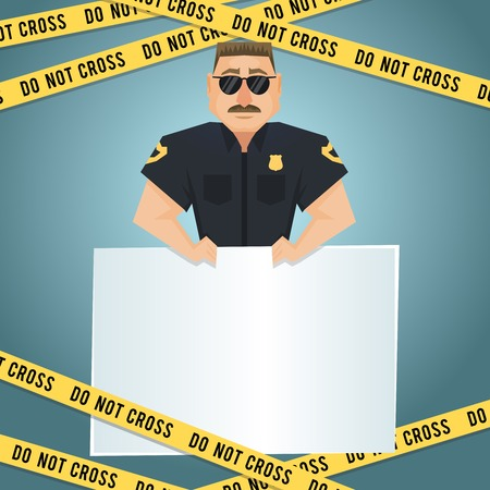 police line do not cross: Policeman character with blank board and yellow do not cross tape poster vector illustration