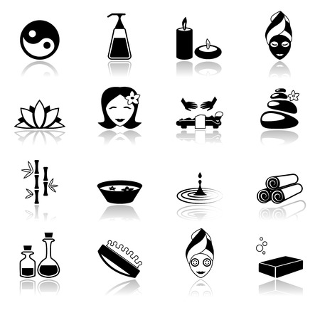 skin oil: Spa healthcare salon herbal therapy relax beauty care black icons set isolated vector illustration Illustration