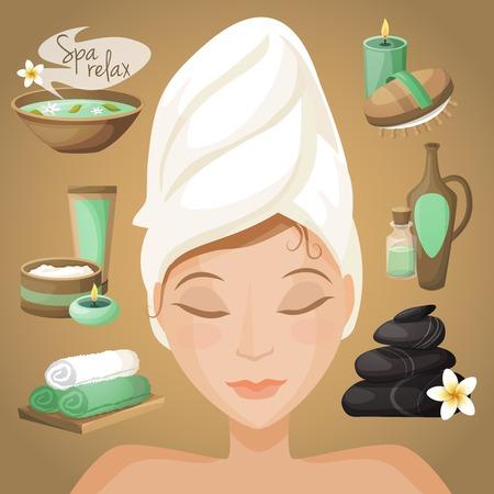 sch�nes frauengesicht: Spa-Salon Gesundheitstherapie-Symbole mit sch�nen Frau Gesicht Vektor-Illustration