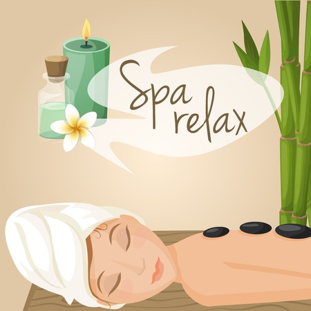 massage stones: Beautiful woman laying spa relax massage procedure vector illustration