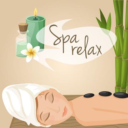 Schöne Frau, die Spa-Relax-Massage Verfahren Vektor-Illustration