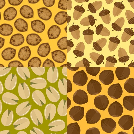 pistachio: Nuts and seeds mix seamless pattern set isolated vector illustration.