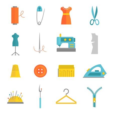 maquina de coser: Equipo de costura y confección de accesorios iconos conjunto con cierre cinta métrica aguja plana aislado ilustración vectorial