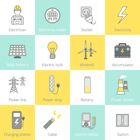 electrician: Electricity flat line icons set with socket solar battery windmill vector illustration Illustration