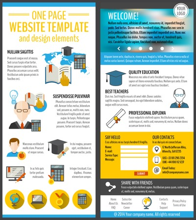 design resource: Education and e-learning resources web site page vector illustration Illustration