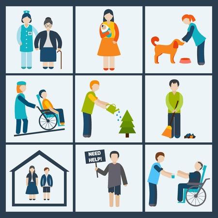 niños discapacitados: Servicios sociales y de voluntariado iconos conjunto aislado ilustración vectorial