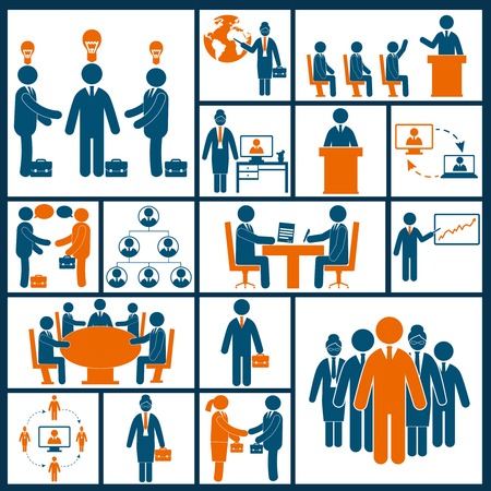 discussion: Business meeting brainstorming group discussion blue orange icons set isolated vector illustration