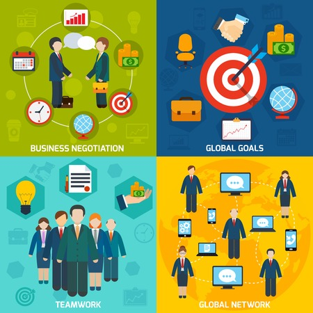 computer training: Business negotiation global network goals teamwork flat set isolated vector illustration