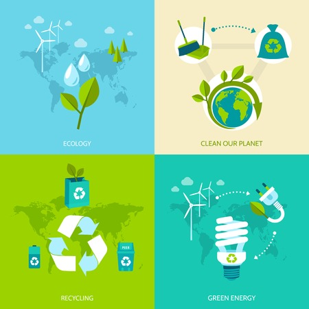 recycle plastic: Ecology clean our planet recycling green energy concept icons set isolated vector illustration.
