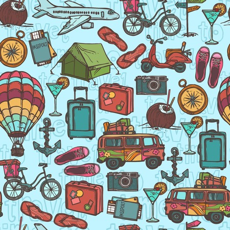 bike cover: Travel holiday vacation sketch seamless pattern with tourism elements vector illustration
