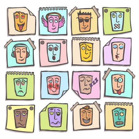 horny: Sketch emoticons man head face expressions colored paper stickers set isolated vector illustration
