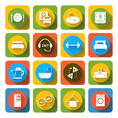 amenities: Hotel amenities and room service tourism icons of swimming massage golf and spa flat set isolated vector illustration Illustration