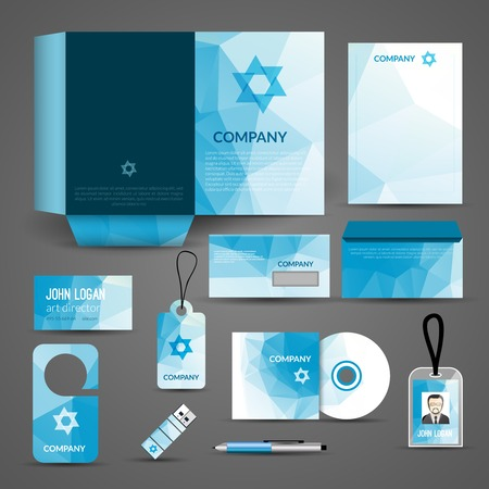 Blue paper business stationery layout template for corporate identity and branding set isolated vector illustration Vector