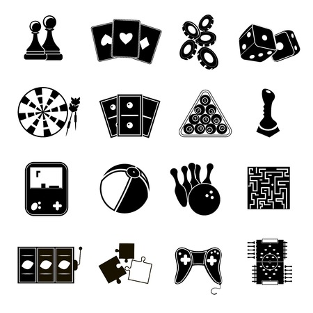 Leisure games sport and gambling casino icons set black isolated vector illustration Vector