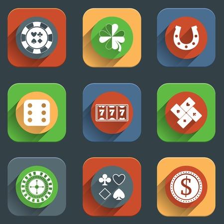 Casino flat design elements with card money roulette wheel icons set isolated vector illustration Ilustracja
