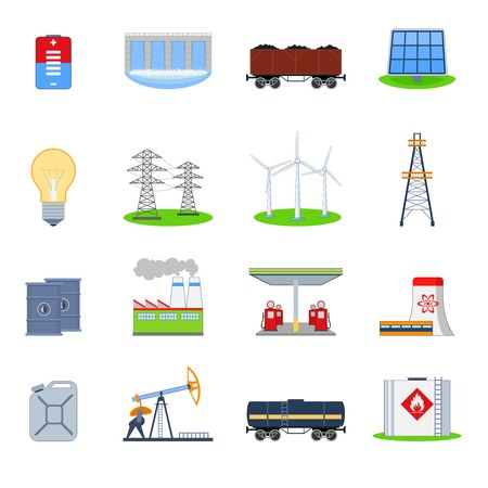 coal plant: Energy and electricity icons set with battery hydroelectric plant coal wagon isolated vector illustration Illustration