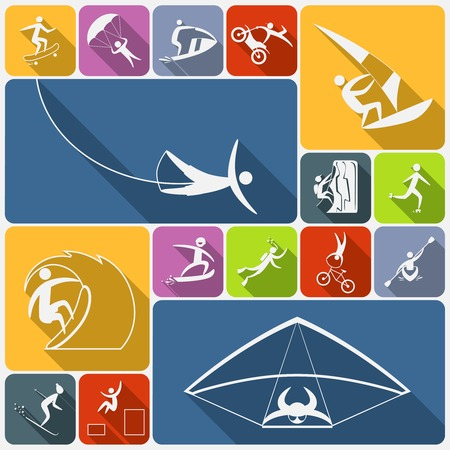 kiting: Extreme sports icons flat set of sailing cycling and kiting people isolated vector illustration Illustration