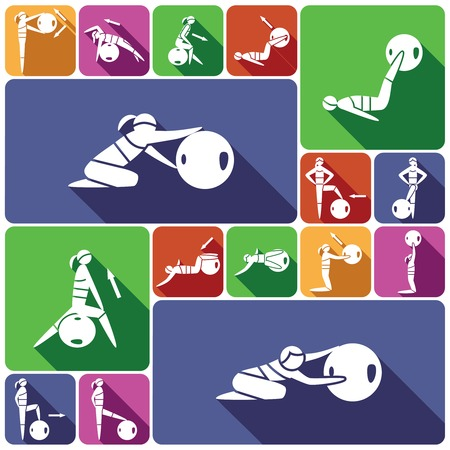 pilates ball: Women silhouettes with fitness ball healthy activity decorative icons flat set isolated vector illustration